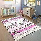 Tappeto per Bambini Camera dei Bambini Taglio Sagomato Fattoria Animali Rosa Crema Colori Pastello, Dimensione:120x170 cm