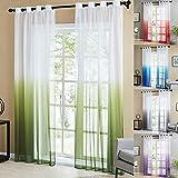 Topfinel Tende Voile Trasparente Occhielli con Gradiente di Colore Decorativi Finestra Balcone casa 140x260cm 2 Pezzi-Verde