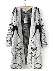 New Ladies Jacquard Patrón largo Knit Cardigan Sweater
