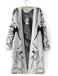 New Ladies Jacquard Patrón largo Knit Cardigan Sweater