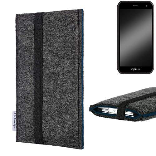 flat.design Handyhülle Lagoa für Cyrus CS 40 | Farbe: anthrazit/blau | Smartphone-Tasche aus Filz | Handy Schutzhülle| Handytasche Made in Germany
