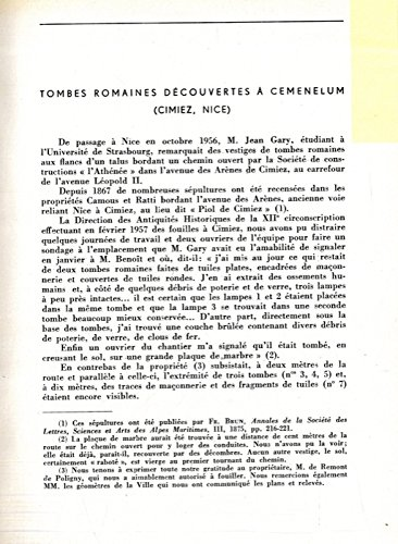 Tombes romaines decouvertes a' Cemenelum (Cimiez, Nice) .