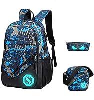 Teenage Girls Boys Geometric Patterns School Bag Students Backpack Casual Rucksack + Messenger Bag + Pencil Case (Grey/ Blue (Graffiti Pattern))