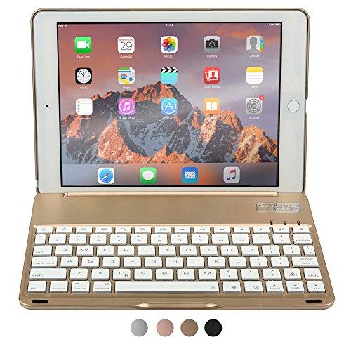 iPad Air 2 / Pro 9.7 Custodia con Tastiera, COOPER NOTEKEE F8S Custodia A Guscio Rigido con Tastiera Bluetooth QWERTY con retroilluminazione a 7 colori (Oro, Funzione Sleep/Wake) - Braccio Dell'asta Asta Del Microfono