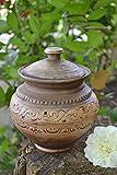 Grand pot a cuire ceramique avec couvercle fait main brun original 1.5 l