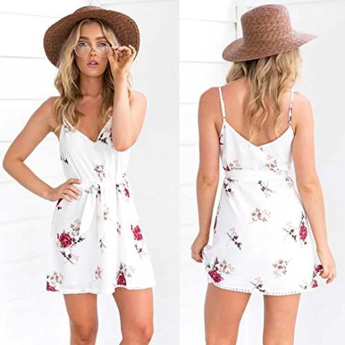 Bluestercool Femmes Robes Floral Straps Mini Dress Camisole Robe Sans Manches Blanc