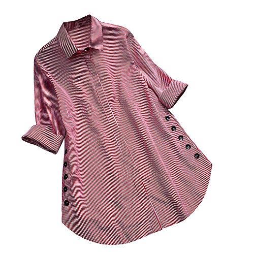 (OSYARD Damen Plaid Umlegekragen Plus Größe Langramshirt mit Taste, Frauen Langarm Gitter Knopf Casual Tops Shirt Lose Plus Size Bluse (2XL, Rot))