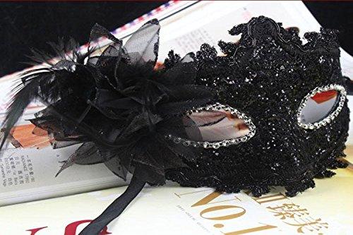 EQLEF® Spitze Kristall Cosplay Roman griechischen venezianischen Halloween Costume Party Maskerade Maske (schwarz-1)