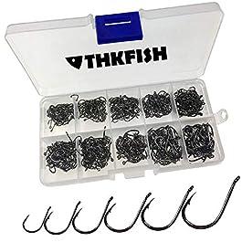THKFISH Crochets de pêche, 500 Pcs # 3 ~ # 12 10 tailles eau de mer d'eau douce noir crochets de pêche est livré avec la vente au détail porte boîte de pêche ensemble