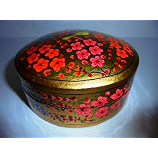 Artcollectibles India 4.25'' Round Decorative Handpainted Wooden Round Coaster Holder With 6 Coasters, Christmas Gift