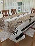 #8: Clasiko 4 Seater PVC Table Cover; Black Flowers On White & Brown Base; Anti Slip; 54x78 Inches; 4 Seater