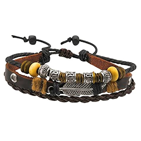 Supreme Leather Bracelet with Angel Wing Leaf - Including Cool Brown Silver Beads Accessory for Him and Her