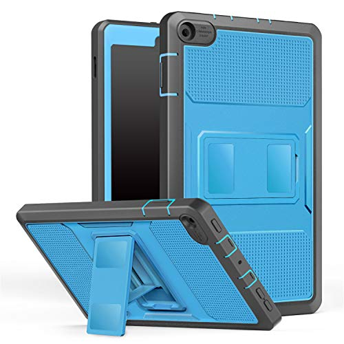 MoKo Hülle für All-New Amazon Fire HD 8 Tablet (7th & 8th Generation - 2017 & 2018 Modell) - [Heavy Duty] Ganzkörper-Rugged Schutzhülle mit Displayschutz Fire HD 8, Blau & Dunkel Grau
