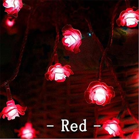 NNIUK 30 LED della Rosa Fata Fiore romantiche luci della luce della stringa per il Natale Wedding Garden Party decorazione di festival - Cuore Coperto