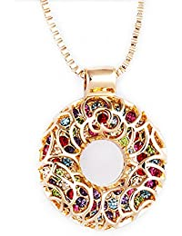 Ananth Jewels Long Chains For Women Hollow Austria Crystal Doughnut Design Pendant Long Necklaces For Women