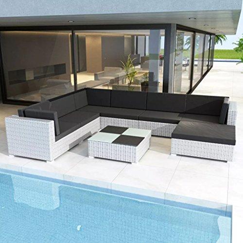 binzhoueushopping Jeu de mobilier de Jardin 24 pcs en Polyester 100% Dimensions de la Table Basse 74 x 74 x 26 cm (L x l x H) Solide Ferme et Durable Blanc Résine tressée