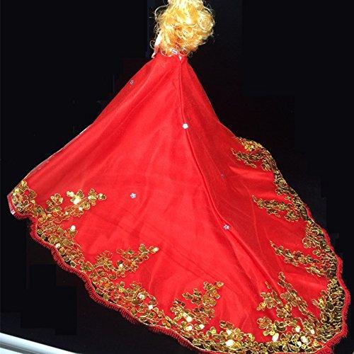 Sequined Hochzeit Brautkleid Prinzessin Kleid Abendkleid Puppe Kleidung Outfit für 12