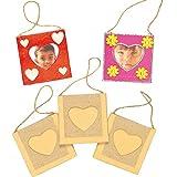 Kleine Bilderrahmen zum Aufhängen mit Herzausschnitt für Photos und Bilder für Kinder zum Basteln ideal zum Valentinstag und Muttertag (8 Stück)