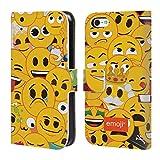 Head Case Designs Offizielle Emoji® Volles Muster Die Gelben Und Poos Brieftasche Handyhülle aus Leder für iPhone 5c