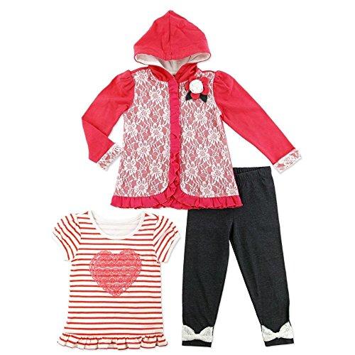 Young Hearts Kinder Mädchen Outfit Jacke mit Kapuze + T-Shirt + Leggings Hose (98) (Kinder T-shirt Oshkosh)
