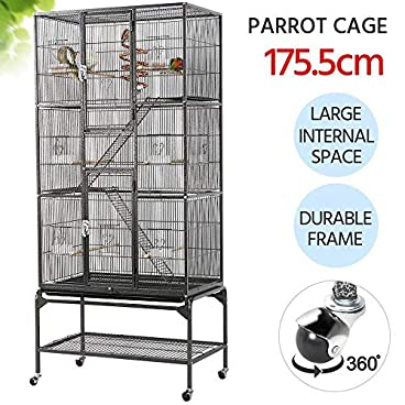 Yaheetech 3 Tiers Large Bird Cage Parrot Cage for Budgies/Lovebirds/Conures/Parakeets/Cockatiels Aviary for Chinchilla Degu Rats Cage with Perch Stand and Wheels