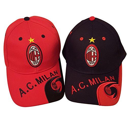 Club de fútbol AC Milan gorra de béisbol unisex, sombrero (2 artículos, rojo y negro)