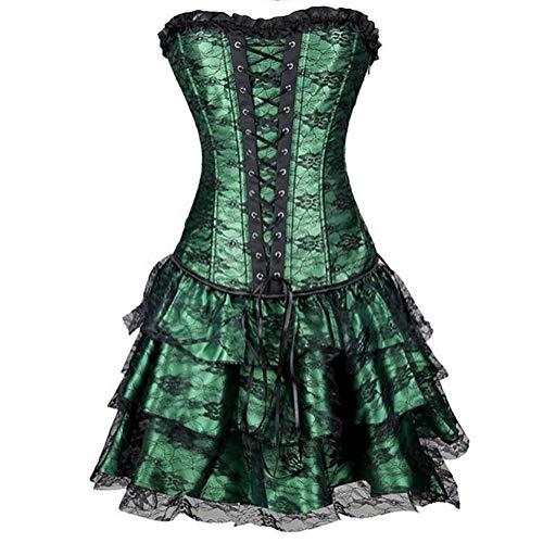 SHANGXIAN Damen Überbrust Korsetts Bustier Steampunk Gothic Sexy Lace Up trägerlosen Vintage Shapewear Kleider,Green,XL (Leder Trägerlosen Korsett Sexy)