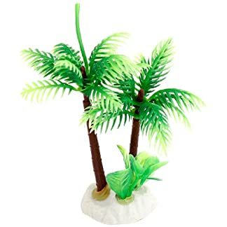 Uxcell Ceramic Base Manmade Plastic Coconut Tree Plants for FishTank/Aquarium, Green 10