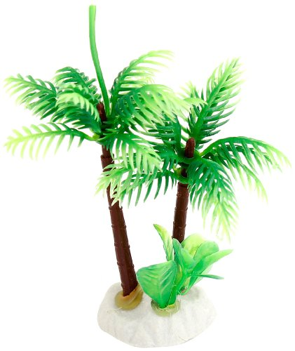 Uxcell Ceramic Base Manmade Plastic Coconut Tree Plants for FishTank/Aquarium, Green 1