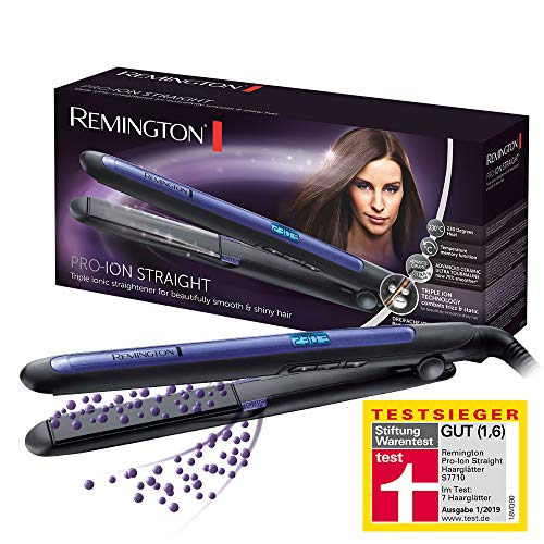 Remington Haarglätter Pro-Ion Straight S7710 zum Glätten & Locken, Testsieger, dreifache Ionen-Technologie, Glätteisen mit Ultra-Turmalin-Keramikplatten, LED Display mit 9 Temperatureinstellungen -
