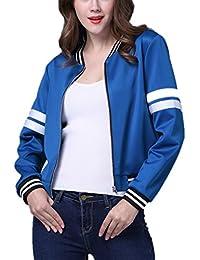 Mujer Chaquetas, Lananas Otoño Azul Blanco Raya Decoración Manga Larga Cremallera Corto Desgastar Uniformes de Béisbol Jackets…