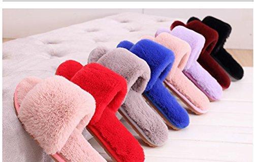 Auspicious beginning Mode d'hiver de femme Slip sur Chaussures Indoor / Outdoor-pieds en peluche Toison plat Slipper Rose