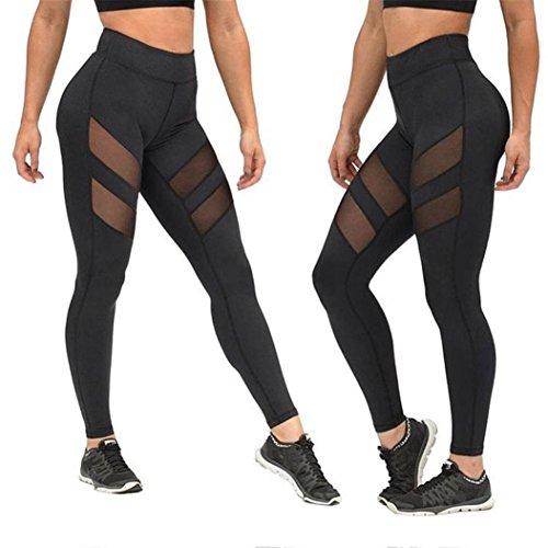 VENMO Patchwork Malla Push Up Pantalones de Yoga Mujer Talle Alto Polainas Flaco (Negro B, S)