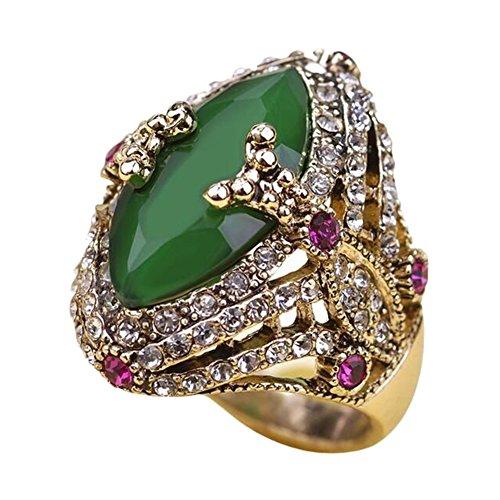 billty 7Vintage Ring Bohemia Stil eingelegten Künstliche Edelstein grün Legierung 1 (Ring Guard Hochzeit Vintage Gold)