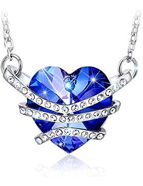 CAROLIER JEWELRY Damen Halskette Swarovski Kristall Blau Herz Anhänger