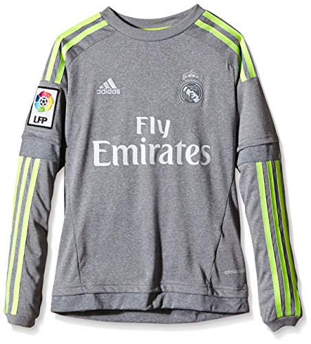 adidas Jungen Langarm Auswärtstrikot Real Madrid Replica, Grey/Solar Yellow, 176, S12620
