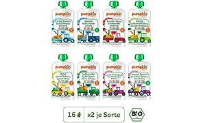 Pumpkin Organics QUERBEET Bio Gemüse Quetschies, 16er Pack (16 x 100g) - Babybrei ab dem 12. Monat