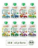 Pumpkin Organics QUERBEET Bio Baby-Brei (Top, Spass, Genuss, Zauber, Freude, Happy, Sonnig, Wonne) Quetschbeutel 16er Pack (16 x 100g) - Für Kinder und Babys ab dem 12. Monat