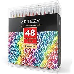 ARTEZA® Real-48-Colors-Pincel Acuarela Marcadores-(Juego de 48)