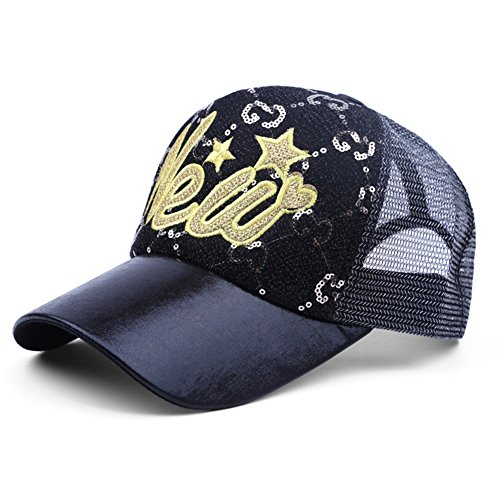 Baseball-hüte Deckel (HAIPENG Kappe Mesh Pailletten Stickerei Sonne Deckel Baseball Hut Sommer Einstellbar Atmungsaktiv Trend All-Spiel Mode, 2 Farben Sonnenhut (Farbe : SCHWARZ))