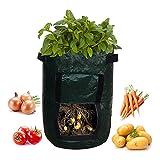 Pawaca Potato Grow bag,10Gallon verdure Planter borse con patta e manici e accesso flap, ecocompatibili e durevoli borse per verdure, frutta, carota, pomodoro, cipolla