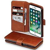 Terrapin, Kompatibel mit iPhone 8 Plus / iPhone 7 Plus Hülle, [ECHT LEDER] Brieftasche Case Tasche mit Kartenfächer und Bargeld - Cognac