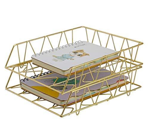 PAG Schreibtischablage, Metall, stapelbar, 2 Stück gold
