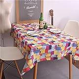 KQS-XYT Farbgitter Tischdecke Baumwollsamen Ölgemälde Graffiti Tischdecke kann für Familienessen und Picknicks verwendet werden , 140*200CM