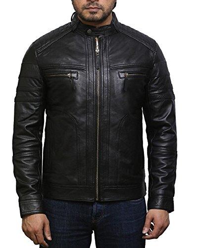 Brandslock Herren Echtes Leder Biker Jacke Vintage (XL, Einfach Schwarz) (Vintage Motorrad Leder Jacke)