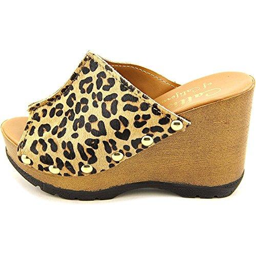 Callisto Redmond Damen Haar Pelz Keilabsätze Sandale Leopard Pon