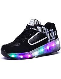 SIKAINI LED Zapatillas Deporte Patín Ruedas Luminoso Formadores Niños LED con un adulto Rueda Intermitente Zapatos
