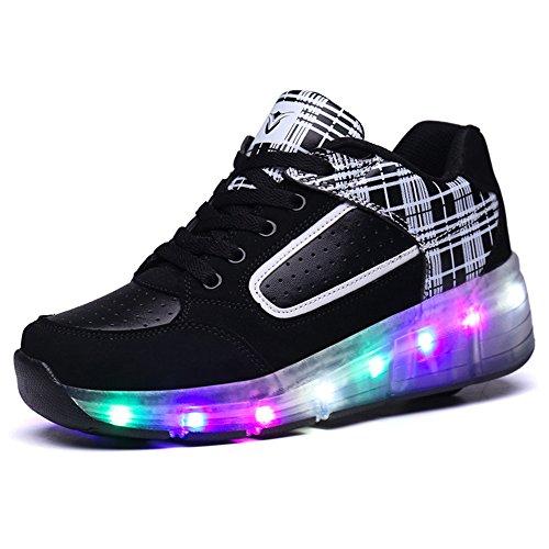 SIKAINI Baskets Enfants LED Chaussures Lumineuse À Roulettes Garçons Filles Sneakers Avec Roues Automatique De Patinage Chaussures Deux Roues Noir
