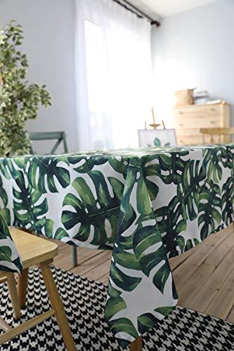 Eckig Abwaschbar Tischtuch Pflegeleicht Schmutzabweisend Grün Gemustert-140 x 180 cm ()