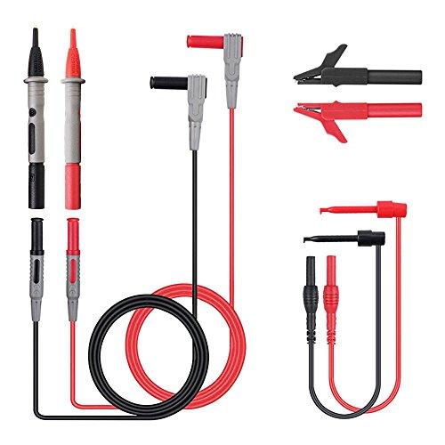 FlowersSea 8 Piezas Juego de Cables de Prueba Electrónica para Multímetro con Pinzas de Cocodrilo Sonda de Cable de Prueba Plomo de Prueba de Multimetro